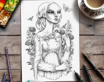 Coloring For Adults | Lady Moths Floral | Grayscale page | Zan Von Zed