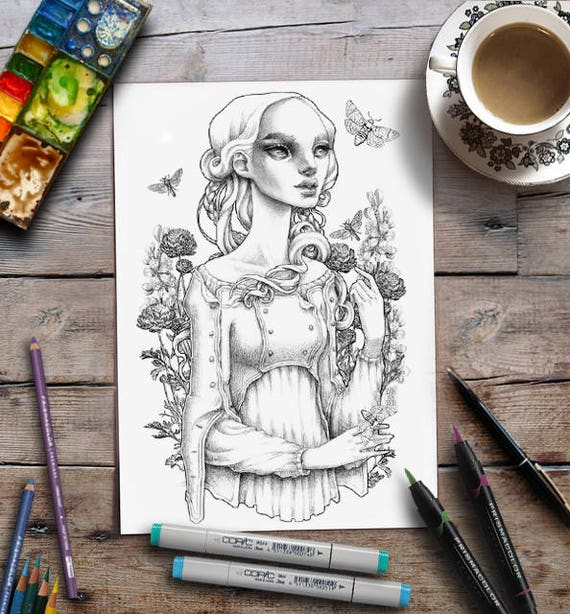 Coloring For Adults Lady Moths Floral Grayscale Page Zan