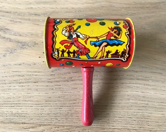 Vintage Metal Noisemaker or Rattle, red vintage Tin Toy