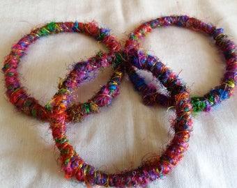 100% Silk Sari Yarn covered Bangles - set of 3 - Medium