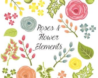 Flower Clipart, Rose Clipart, Digital Flowers, Digital Roses, Vector