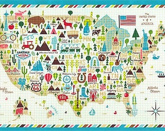 Coast to Coast USA Picture Map 24 x 44 inches