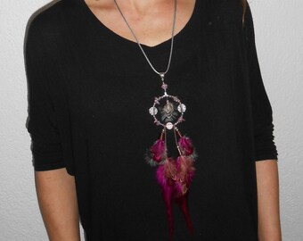 """Necklace feathers """"Pinky flow"""""""