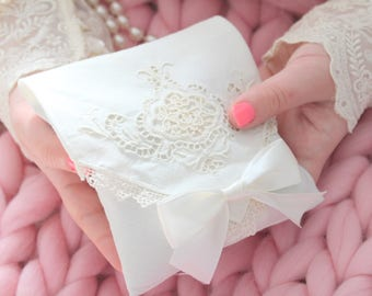BRIDAL  KEEPSAKE SACHET, Aromatherapy, French Dried Lavender Sachet with Hand Embroidered Cutwork Design & Satin Bow