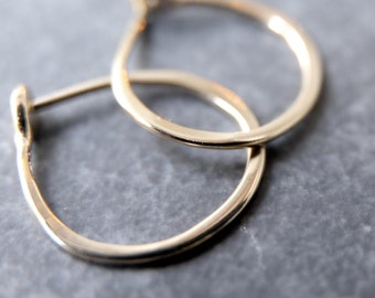 Small 14k White Gold Hoops -  5/8 Inch Hand Forged Solid Gold Hoops -  14 Karat White Gold Hoop Earrings