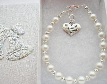 Maid of Honour Bracelet, Flower Girls Jewellery, Bridesmaids, Junior Bridesmaid, Maid of Honor Wedding Gifts