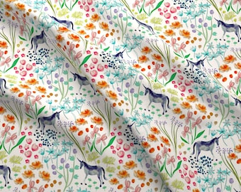 Watercolor Unicorn Fabric - In The Garden By Susan Polston - Whimsical Nursery Watercolor Floral Cotton Fabric by the Yard with Spoonflower