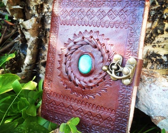 Leather Medieval Journal - Handmade Embossed Rustic Journal - Turquoise Agate Leather Notebook - Leather Travel Book - Leather Notebook