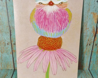 """5"""" x 7"""" Print ~ Lilac Breasted Roller Bird on Pink ConeFlower ~ Soft Chalk Pastels"""