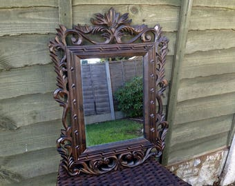 Vintage Gothic Mirror, Gothic Mirror, Decorative Gothic Mirror, Carved Gothic Mirror, Framed Mirror, Black Frame Mirror, Carved Frame Mirror
