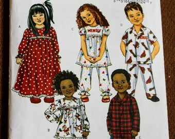 Butterick B4647 Childrens Sewing Pattern Pajamas Nightgown Boys Girls Button Up Long Short Sleeve Gathered Ruffled Collared Kids 4 5 6