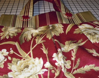 Bird and Foliage Deep Red, Tan and Beige Pleated Purse by Pursenickedy