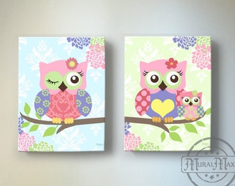 Owl Decor   OWL Canvas Art, Baby Girl Nursery Art Owl Nursery Prints, Canvas