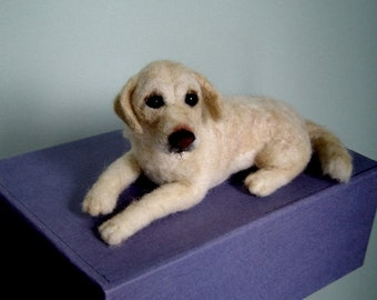 Custom Dog Pet Portrait needle felted Labrador Retriever Soft Sculpture Memorial
