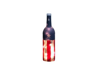 Americana Lighted Wine Bottle - Wine Gift, Wine Decor, Military, Flag, Patriotic, July 4th, Wine Lover, Independence Day, Primitive Decor