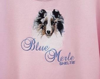 Sheltie, Shetland Sheepdog, Blue Merle, Embroidered Hooded Sweatshirt