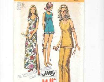 Vintage Sewing Pattern, Simplicity 9362, Misses' Pants in Two Lenghts, Dress or Tunic, Size 12,  70s Sewing Pattern, Easy, Cut, Complete