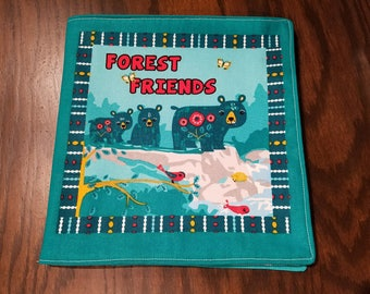 "Kids and Baby Soft Cloth Book - ""Forest Friends"" - 10 Page Children's Book"