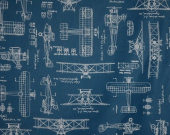 3 REMNANTS--Blue with White Vintage Airplane Blueprints Print Pure Cotton Fabric--1&5/8 YardS TOTAL