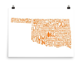 Oklahoma Cities and Towns Poster Orange Oklahoma Small Town Wall Art