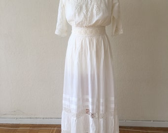 True Vintage Edwardian Dress 1910s Titanic Downton Abbey Wedding Dress Lace