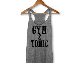 Gym And Tonic Tank, Fitness, Workout Tank, Muscle Tank, Gym, Yoga Top, Workout, Tank, Funny, Fit, Squat, Graphic Tee, Retro, Vintage