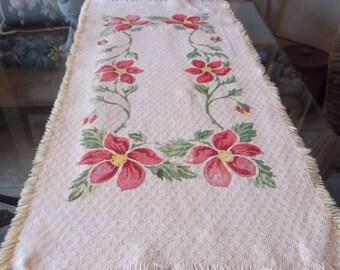 Vintage  Red Floral   Table Runner