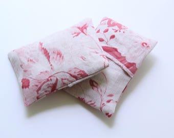 Lavender Sachet Pink Red Cabbage & Roses Linen - Set of 2