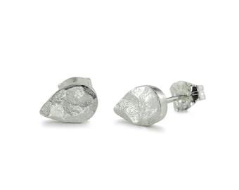 WINTER LAKE teardrop pear shape studs - Hammered & Textured 925 Sterling Silver Stud Earrings, also available in 9 carat gold