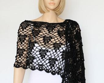 Crochet Black Shawl Knit Shawl Black Knitted Shawl Wraparound Shawl Black Lace Shawl Black Shawls Wraps Shawls Knitted Shawl