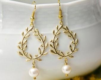Gold Laurel Earrings, with Swarovski pearls. Gold flower earrings. Gold Pearl Earrings. Gold leaf earrings.