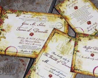 Wine ring Wedding Invitation,Paris themed wedding invitations,Gold parchment, vintage rose, wine stained wedding invitation, Parisian