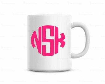monogram coffee mug, circle monogram coffee mug, customized coffee mug, monogram coffee cup, manly monogram coffee mug, custom coffee mug,