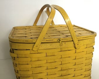 Vintage Yellow Picnic Basket with Pie Shelf Square Shabby Yellow Painted Home Decor