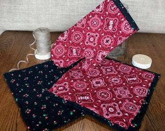 Oven Mitt - Pot Holders - Kitchen Set - Cherry Picnic