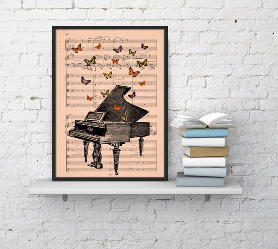 Piano with butterflies Art print on music sheet, Wall art home decor , Music sheet art, Wall art decor BFL086MSM