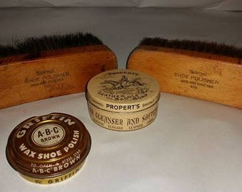 Vintage Shoe Shine Brushes and Tins