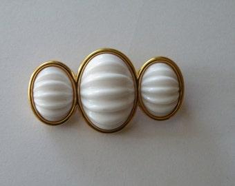 Monet white glass milk glass melon glass brooch pin