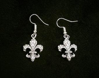 Fleur-de-lis crystal earrings, French, wedding, prom, New Orleans
