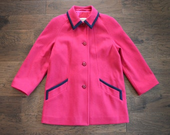 Vintage Jacket Magenta Eaton's London Fog pea coat circa 1970s, Ladies size 12 Pure Virgin Wool
