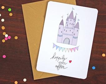 Carte postale Happily Ever After - Frais de port offerts! St Valentin / Amour/ Mariage