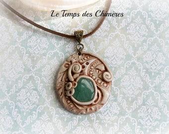 Elven jewelry polymer clay and aventurine stone talisman pendant