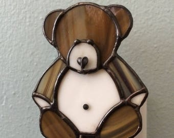 Stained Glass Teddy Bear Night Light