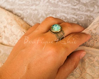 Turquoise style ring, filigree, romantic, vintage