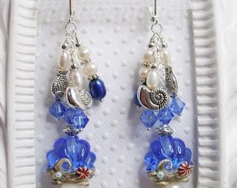SRA Shell Lampwork Pearl Earrings, Ocean Blue Sea Shell SRA Lampwork Earrings, Down by the Sea Chandelier Lampwork Pearl Earrings, Earrings
