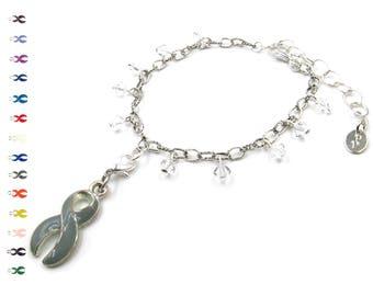 Bravery - Thyroid Cancer Ribbon - Silver Bracelet - Cancer Ribbon - With Swarovski Crystals
