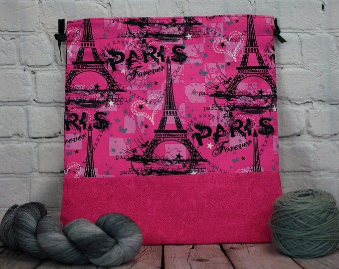 Paris Forever, Knitting Project Bag, Crochet Project Bag, Yarn Bag, Fiber Project Bag, Sock knitting bag, Shawl project bag
