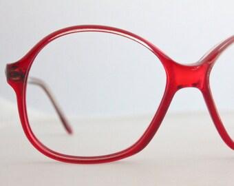 Vintage 1970's French Cherry Red Eyeglasses Frames