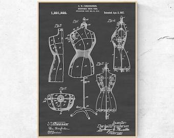 Blueprint art etsy adjustable dress form patent print dress form blueprint art sewing room wall art malvernweather Image collections