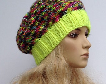 Knit Slouchy Beanie Neon Fluorescent Yellow with Bright Colors